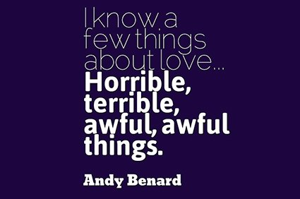 i know a few things about love... horrible, terrible, awful, awful things. andy bernard the office