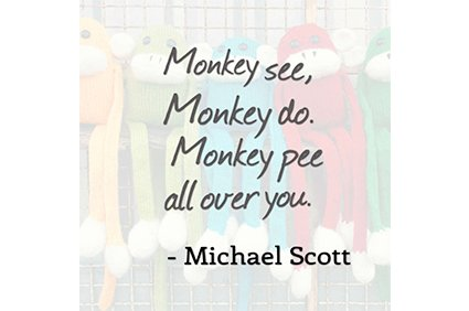 monkey see monkey do monkey pee all over you michael scott the office