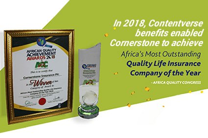 Cornerstone Insurance PLC implements Contentverse, Wins 2018 Quality Life Insurance Company of the Year award